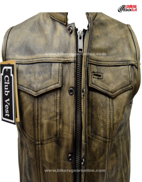 biker vest men s distressed brown leather motorcycle club vest