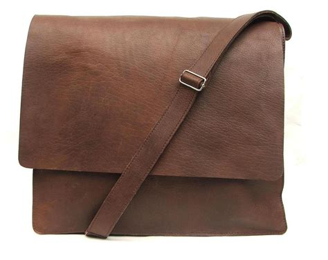 messenger bag for mens unisex brown leather by abizema