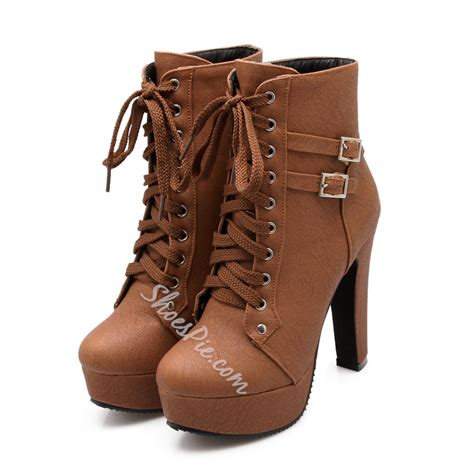chunky heeled boots shoespie lace up chunky heel ankle boots shoespie