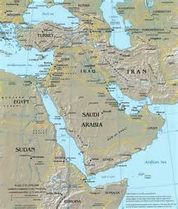 middle east topographical reference map
