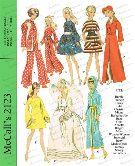pattern dolls clothes sew 1960 s barbie doll clothes sewing pattern mccalls ebay