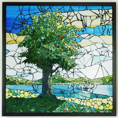 mosaic pattern landscape stained glass mosaic landscape with tree from