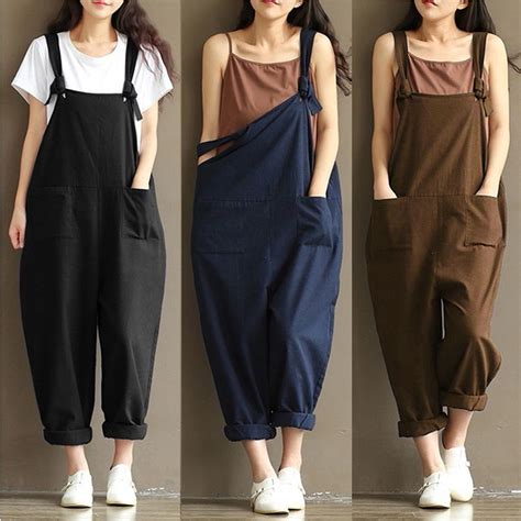 Jumpsuit Cotton Motif casual linen cotton jumpsuit harem trousers overalls us stock ebay