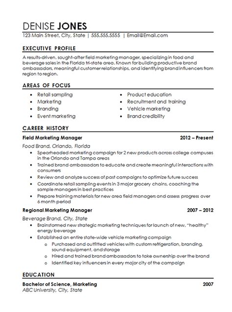 sales and marketing manager resume foodcity me