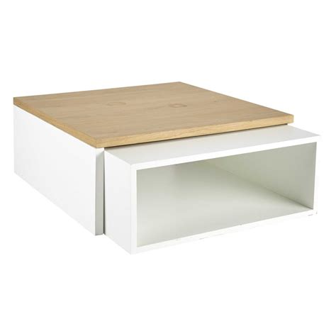 2 wooden coffee tables in white w 94cm and w 100cm austral