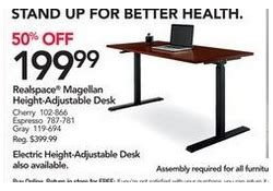 realspace magellan pneumatic stand up height adjustable desk espresso office depot and officemax black friday 2018 ad deals