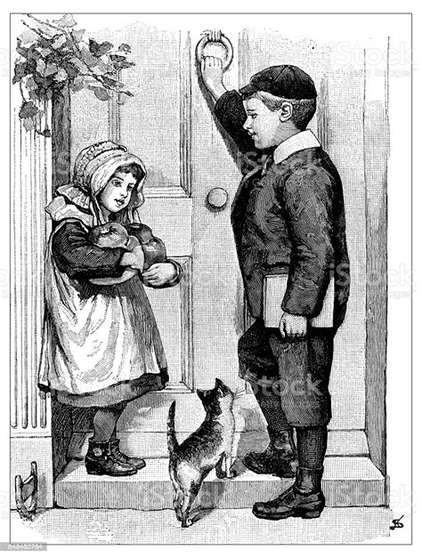 Antique Childrens Book Comic Illustration Girl And Boy