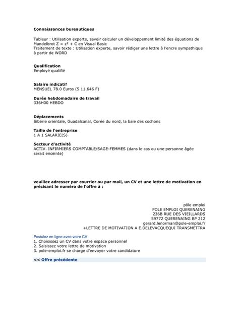 Exemple Lettre De Motivation Anpe Pdf Pole Emploi Pdf Par Faitgherbi Fichier Pdf