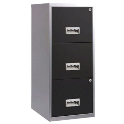 3 Drawer A4 Filing Cabinet, Silver/Black   Staples®