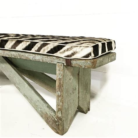 extra long bench cushion extra long vintage farmhouse bench with zebra cushion at