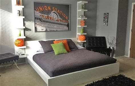 boys grey bedroom ideas light gray teen boy s bedroom with orange and gray accent