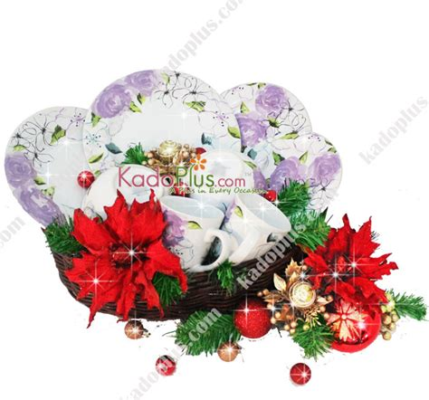 Piring Plate Florist parcel keramik natal dinner set 13 toko bunga