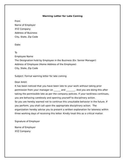 write warning letter late coming wisdom jobs