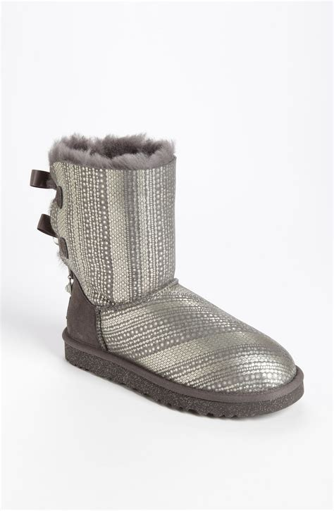 boot bling ugg bailey bow bling boot in gray grey lyst