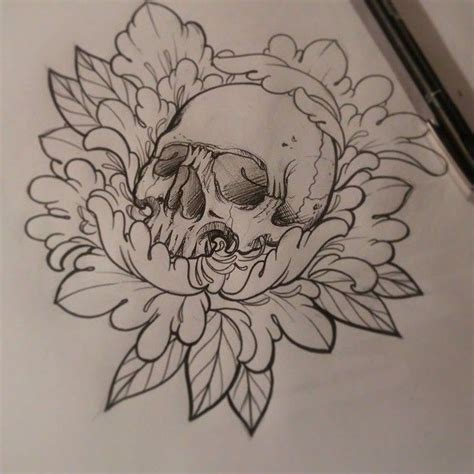 skull tattoo designs with flowers dise 241 o disponible para color skull peony