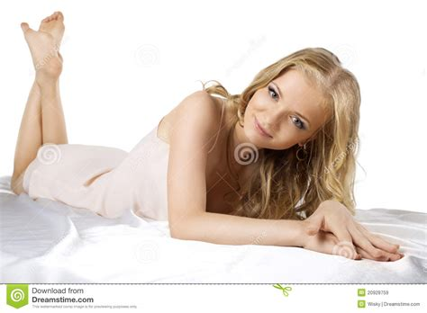 layed in bed attractive young blond woman lay in lingerie royalty free