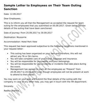 Letter To Employees On Their Team Outing Sanction Hr Letter Formats Sanctions Policy Template