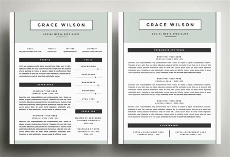 two page cv template the best cv resume templates 50 exles design shack