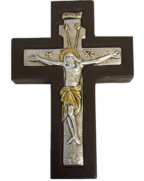 wall cross with corpus crucifix silver 925 gold plated