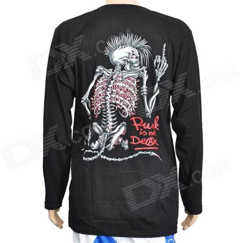 Dotted Skull Glow In The Size Xl cool rock skeleton style glow in the sleeves t shirt black size xl free shipping