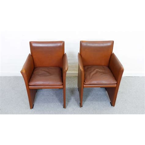 brown armchairs pair of brown armchairs in leather by mario bellini for