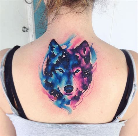 watercolor wolf tattoo galaxy wolf back best design ideas