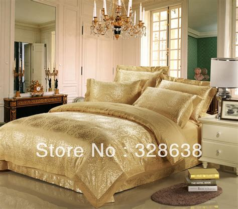gold comforter set full gold yellow luxury imitated tribute silk bedding sets king