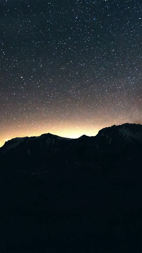 wallpaper night sky mountains  nature