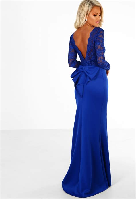 Blue Royal Lace Dress 43564 addicted to royal blue lace sleeve bow back maxi