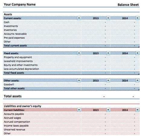 simple balance sheet template simple balance sheet template microsoft excel