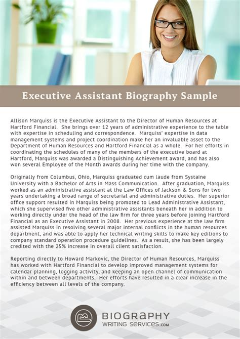 bio exles for executives executive assistant biography sles from top class writers