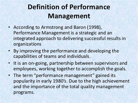 bench mark definition performance management process hr