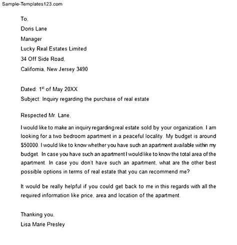 Letter Real Estate Real Estate Inquiry Letter Sle Templates
