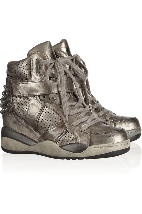 metallic sneaker wedges ash freak metallic leather wedge sneakers in silver