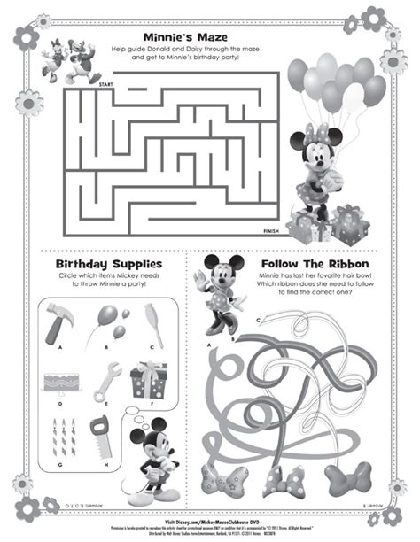 free printable disney activity sheets downloadable minnie mouse maze disneyjunior pinterest