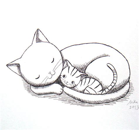 Drawing Kittens by Cat Kitten Ink Drawing Print S Illustration