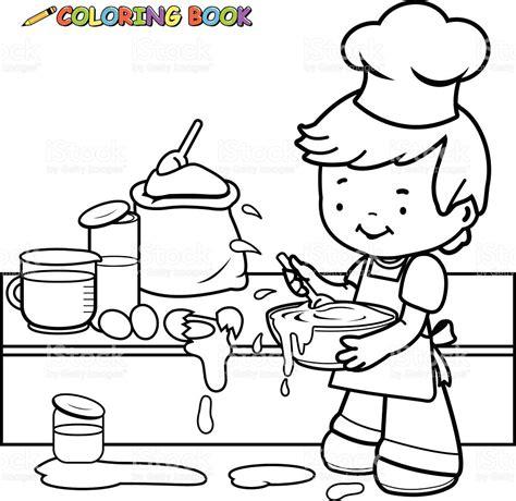 toy kitchen coloring page little boy cocina y lo ha hecho una chapuza libro para