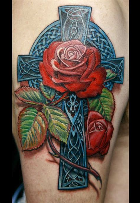 celtic cross with roses tattoo designs roses celtic cross tattoos wonderful blue detailed celtic