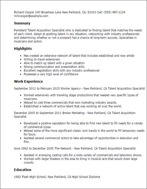 Acquisition Specialist Sle Resume by 1 Talent Acquisition Specialist Resume Templates Try Them Now Myperfectresume