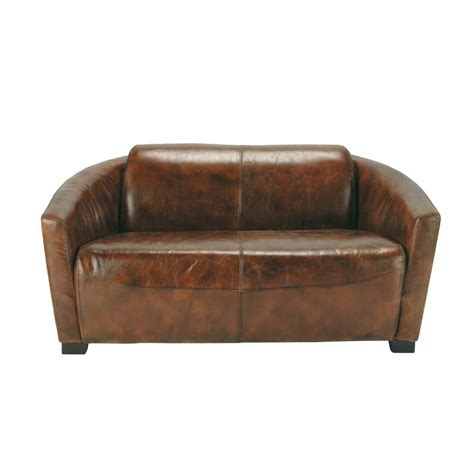 Sofa Oscar 2 seat leather sofa oscar oscar maisons du monde