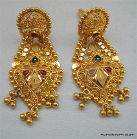 Handcrafted Gold Jewelry - ethnic 20k gold earrings handmade jewelry from rajasthan