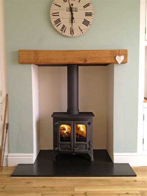 Oak Beam Fireplace by Charnwood Island 1 On Honed Granite Hearth With Oak