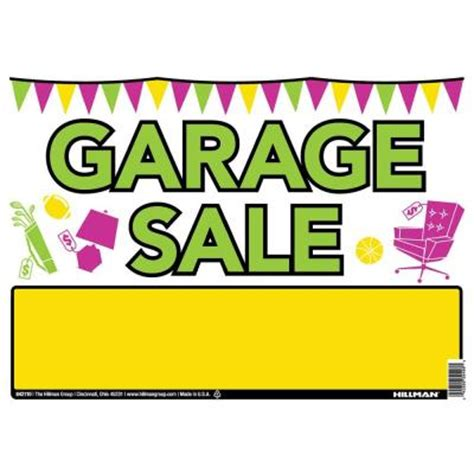 the hillman 10 in x 14 in plastic garage sale sign