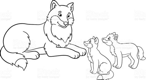 wolf puppies coloring pages coloring pages mother wolf with her little babies stock