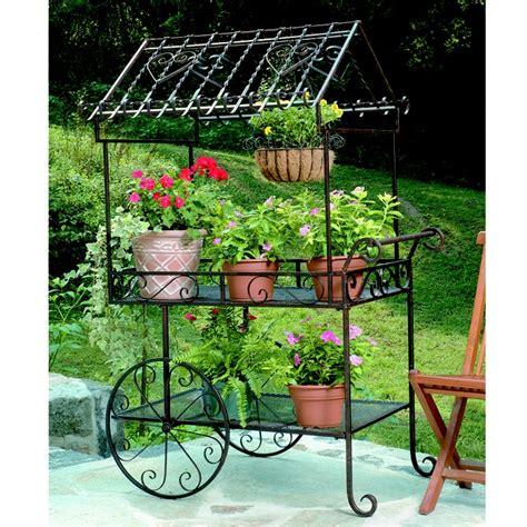 Garden Flower Stands Wrought Iron Flower Cart Plant Stand Neat Ideas