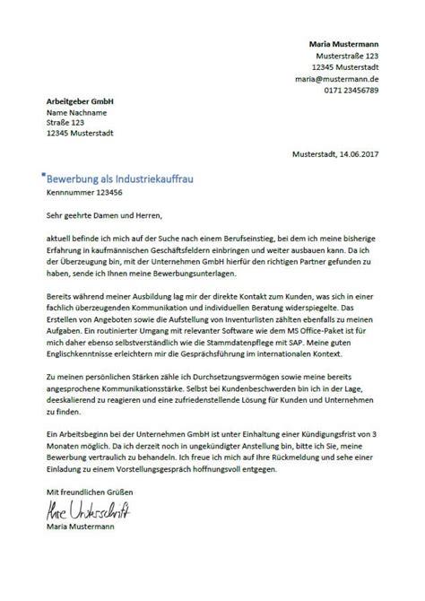 Bewerbung Anschreiben Ausbildung Zum Industriekaufmann bewerbung als industriekaufmann industriekauffrau