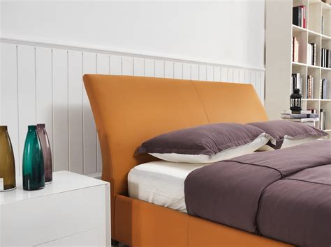 Modern Bedroom Orange Modrest C664 Modern Orange Bonded Leather Bed Modern