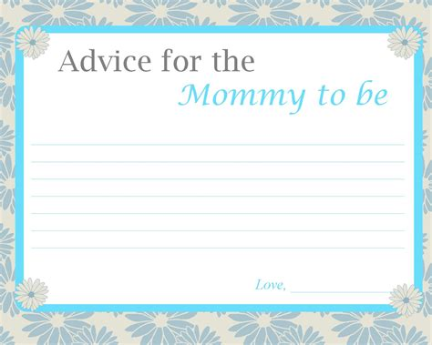 photo baby shower advice cards printable image fun baby shower activities
