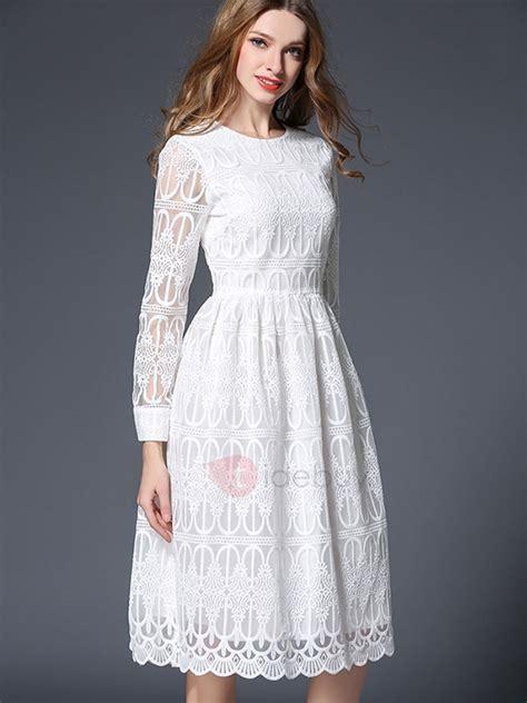Sleeve White white sleeve neck lace dress tidebuy
