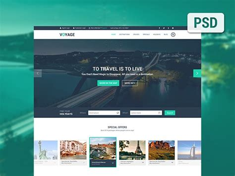 Voyage Free Travel Psd Template Freebiesbug Psd Website Templates Free 2017